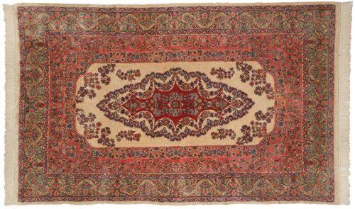 5×8 Persian Kerman Ivory Oriental Rug 017579