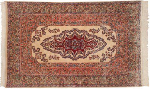 5×8 Persian Kerman Ivory Oriental Rug 017608