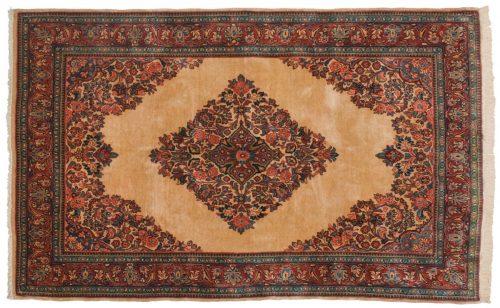 5×8 Persian Sarouk Ivory Oriental Rug 034652