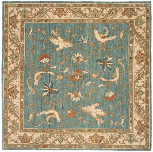 6×6 Bird Blue Oriental Square Rug 021048