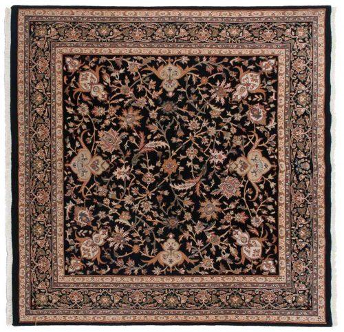 6×6 Isfahan Black Oriental Square Rug 042839