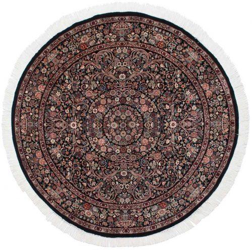 6×6 Aubusson Black Oriental Round Rug 025833