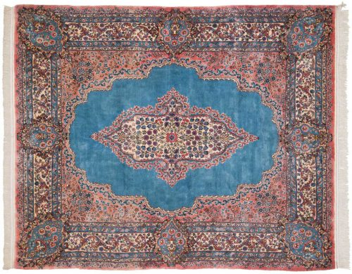 6×7 Persian Kerman Blue Oriental Rug 026409