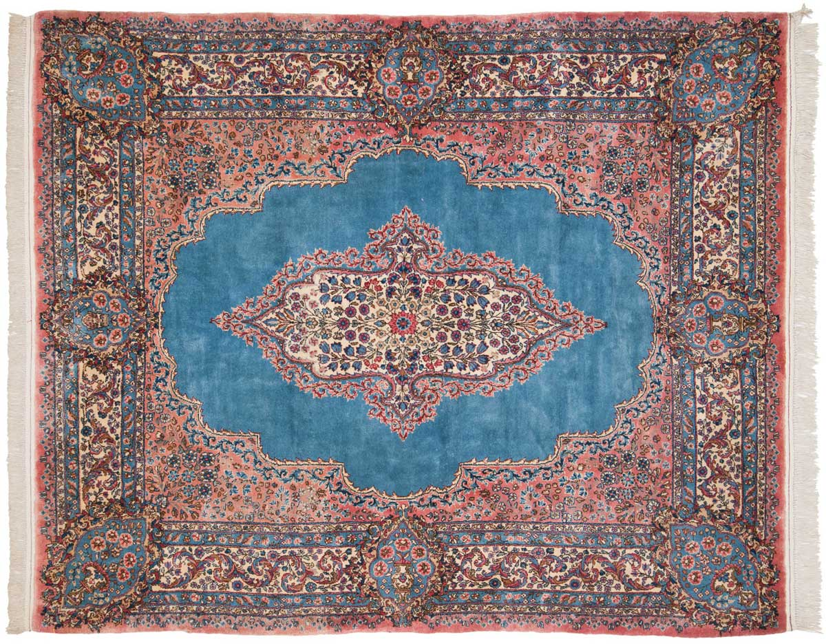 6x7 Persian Kerman Blue Oriental Rug 026409