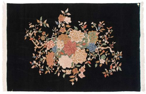 6×9 Art Deco Black Oriental Rug 016779