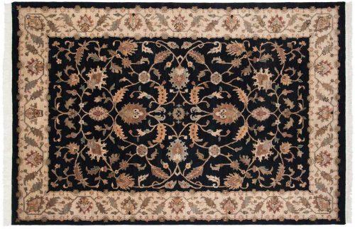 6×9 Floral Black Oriental Rug 039413