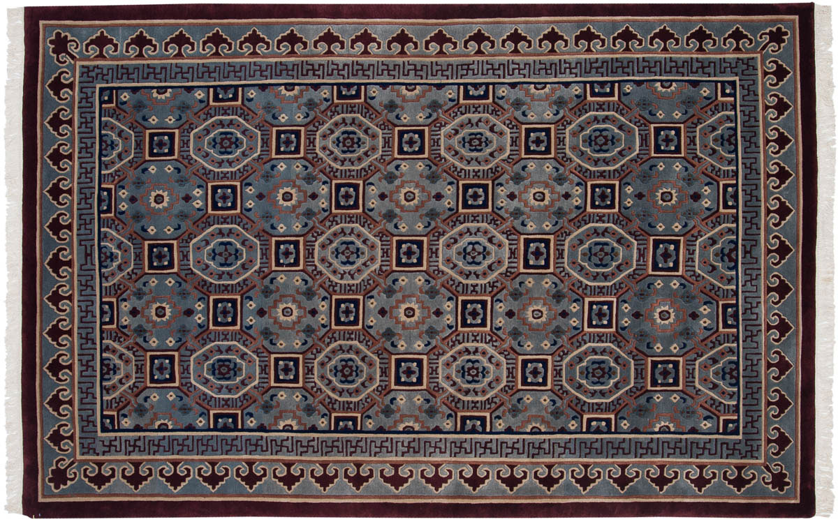6x9 Arts & Crafts Blue Oriental Rug 037259