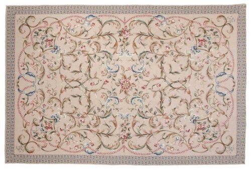 6×9 Floral Beige Oriental Rug 014333