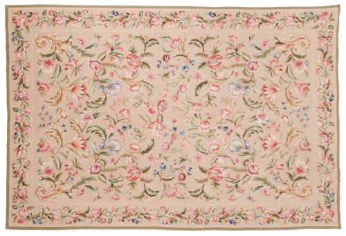 6×9 Floral Beige Oriental Rug 014335