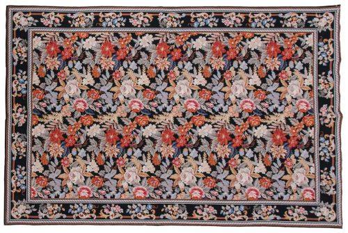 6×9 Floral Black Oriental Rug 013928