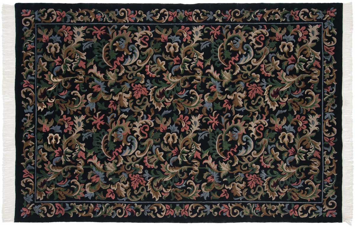 6x9 Needlepoint Black Oriental Rug 037472