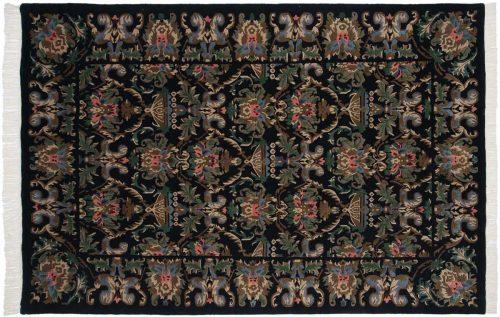 6×9 Damask Black Oriental Rug 036930