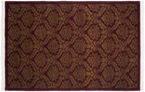 6×9 Damask Burgundy Oriental Rug 036462