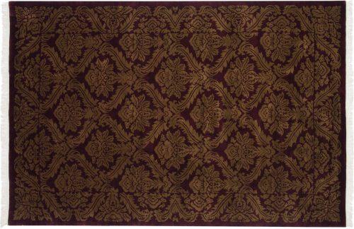 6×9 Damask Burgundy Oriental Rug 036770