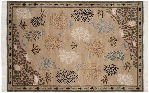 6×9 Folk Art Beige Oriental Rug 038885