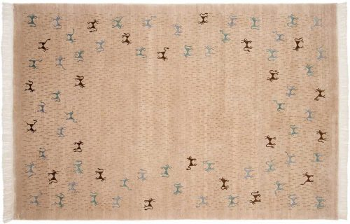 6×9 Folk Art Beige Oriental Rug 038911