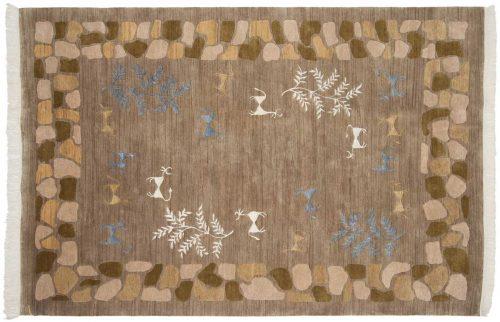 6×9 Folk Art Beige Oriental Rug 038918