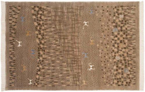 6×9 Folk Art Beige Oriental Rug 038919