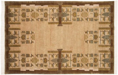 6×9 Folk Art Gold Oriental Rug 038916