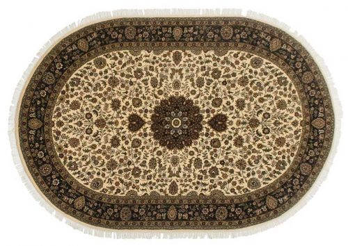 6×9 Kashan Ivory Oriental Oval Rug 041400