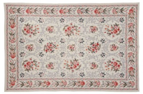 6×9 Floral Bouquet Ivory Oriental Rug 013934