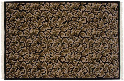 6×9 Leaf Black Oriental Rug 038129
