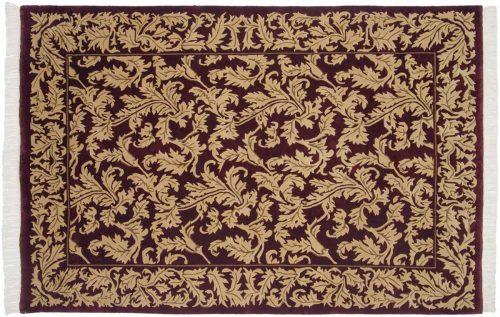 6×9 Leaf Burgundy Oriental Rug 036929