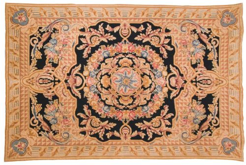 6×9 Needlepoint Black Oriental Rug 014098