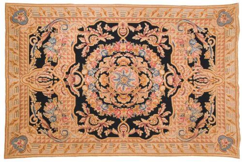 6×9 Needlepoint Black Oriental Rug 014098