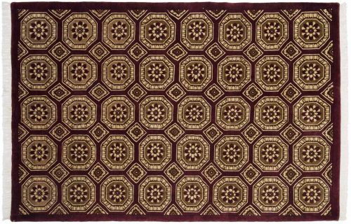 6×9 Octagon Burgundy Oriental Rug 036514