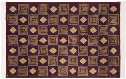 6×9 Block Purple Oriental Rug 032661