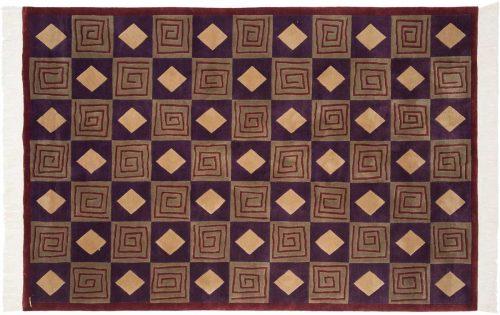 6×9 Block Purple Oriental Rug 032661