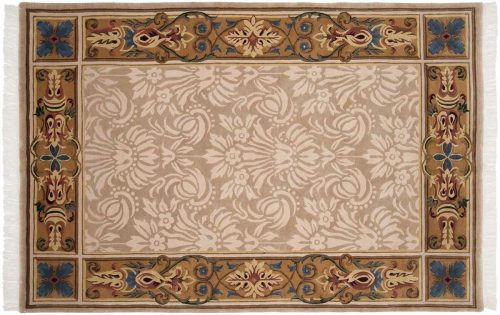 6×9 Savonnerie Beige Oriental Rug 037454