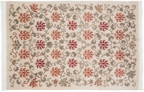 6×9 Tibetan Ivory Oriental Rug 036322