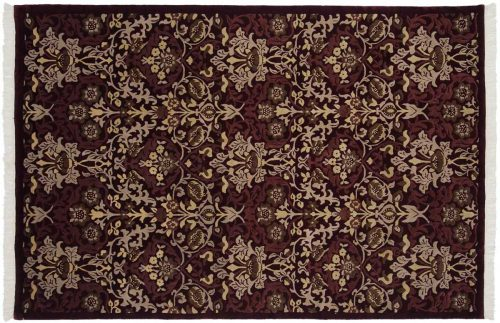 6×9 William Morris Burgundy Oriental Rug 036801