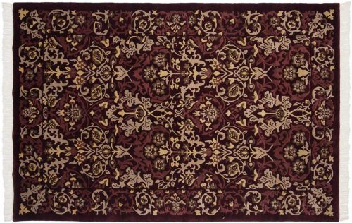6×9 William Morris Burgundy Oriental Rug 036890