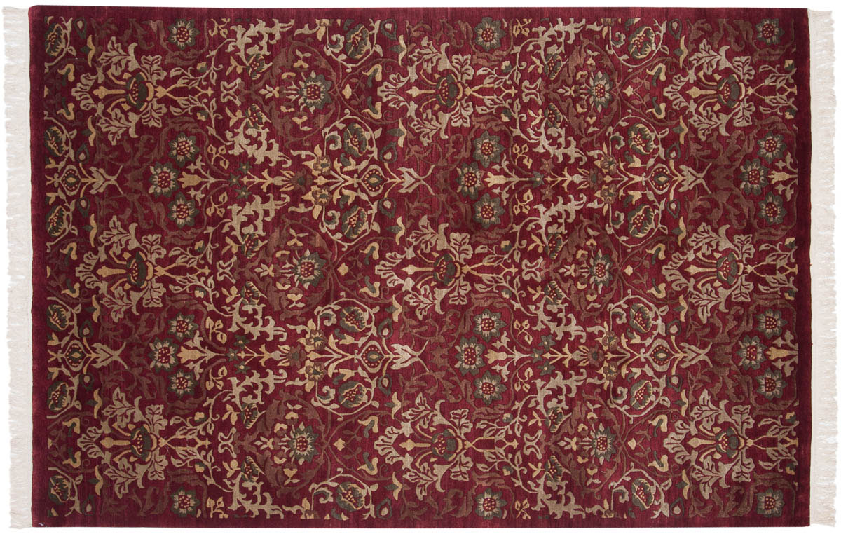 6x9 William Morris Burgundy Oriental Rug 038071