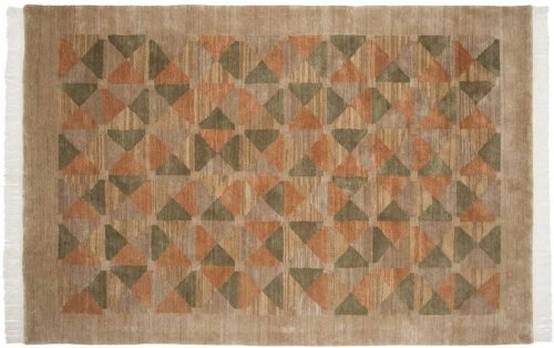6×9 Geometric Brown Oriental Rug 038074