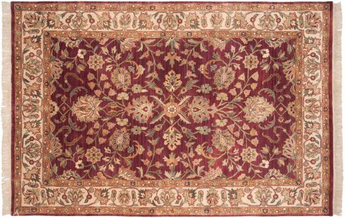 6×9 Yezd Burgundy Oriental Rug 032728