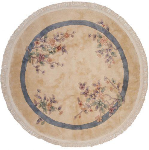 7×7 Art Deco Ivory Oriental Round Rug 047267
