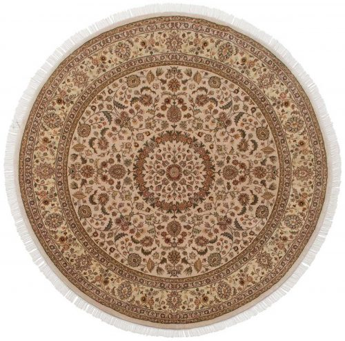 7×7 Kashan Beige Oriental Round Rug 027071