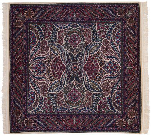 7×7 Kerman Ivory Oriental Square Rug 019602