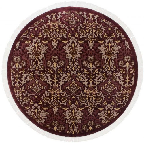 7×7 William Morris Burgundy Oriental Round Rug 037865