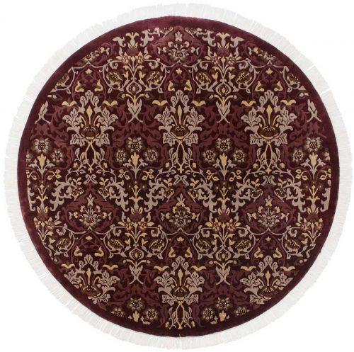 7×7 William Morris Burgundy Oriental Round Rug 037865