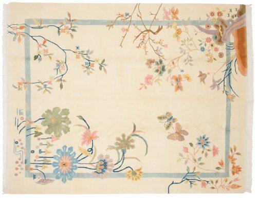8×10 Art Deco Ivory Oriental Rug 015444