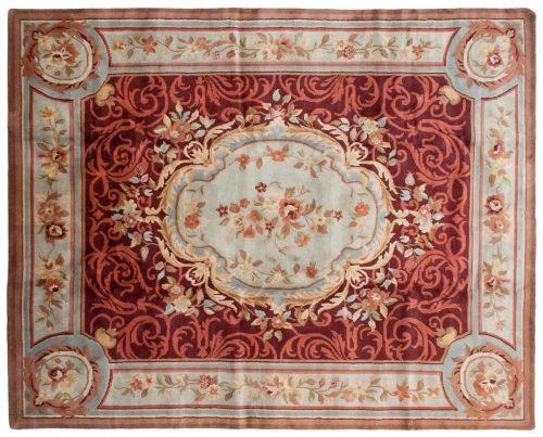 8×10 Aubusson Burgundy Oriental Rug 027772