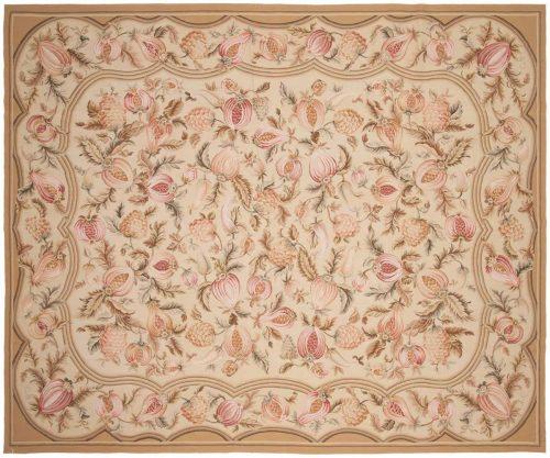 8×10 Floral Beige Oriental Rug 014329
