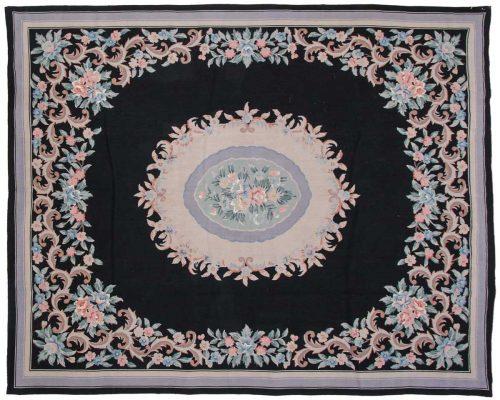 8×10 Aubusson Black Oriental Rug 013947