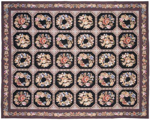 8×10 Block Black Oriental Rug 014165