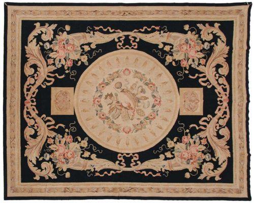 8×10 Savonnerie Black Oriental Rug 014174